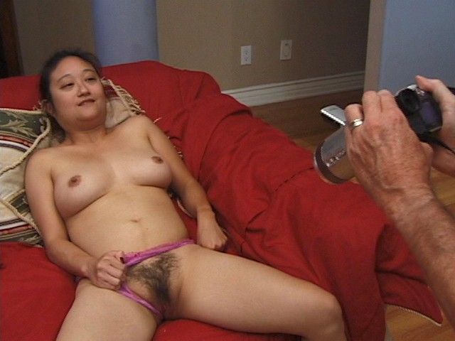 Asian Hairy Pussy Girl Performs on a